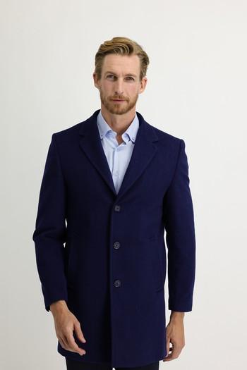 Erkek Giyim - Slim Fit Yünlü Kapüşonlu Kaban