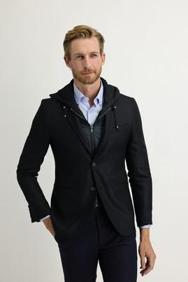 Erkek Giyim - PETROL 44 Beden Slim Fit Kapüşonlu Kuşgözü Spor Ceket