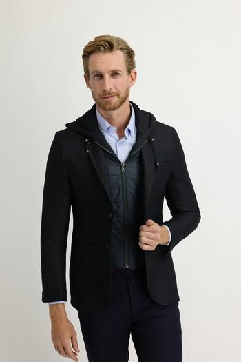 Erkek Giyim - Slim Fit Kapüşonlu Kuşgözü Spor Ceket