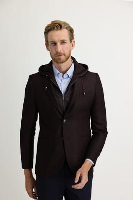 Erkek Giyim - BORDO 44 Beden Slim Fit Kapüşonlu Kuşgözü Spor Ceket