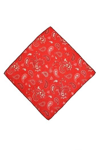 Erkek Giyim - Edirne Kırmızısı Desenli İpek Mendil