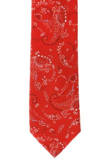 Erkek Giyim - Edirne Kırmızısı Desenli İpek Kravat