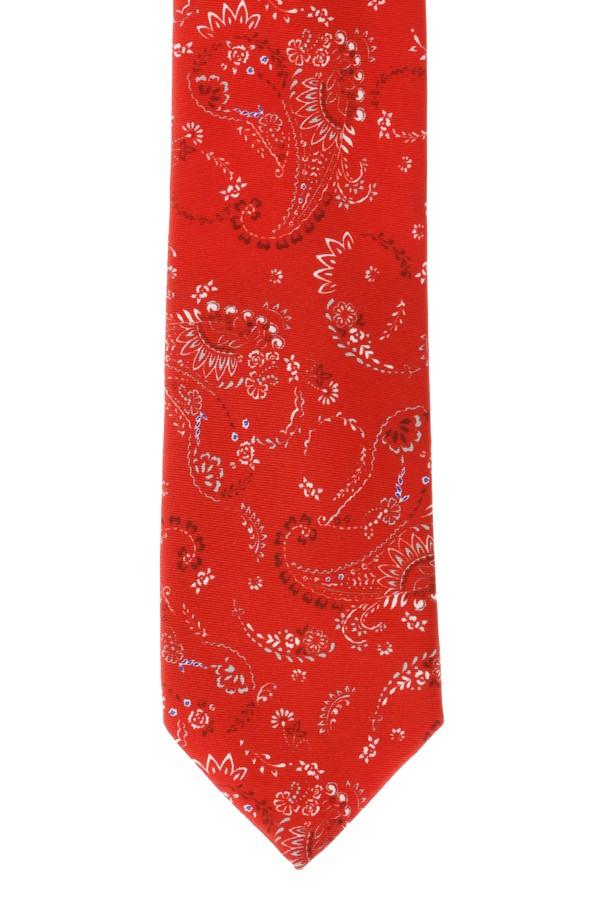 Edirne Kırmızısı Desenli İpek Kravat