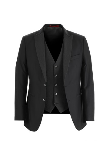 Erkek Giyim - Slim Fit Sivri Yaka Yelekli Smokin & Damatlık