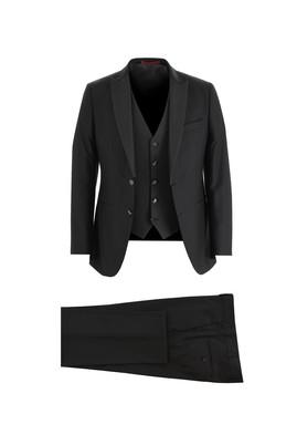 Erkek Giyim - SİYAH 46 Beden Slim Fit Sivri Yaka Yelekli Smokin & Damatlık
