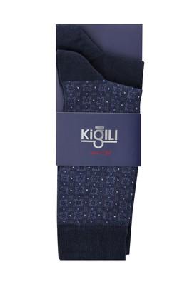 Erkek Giyim - ORTA LACİVERT 42-45 Beden 2'li Desenli Çorap