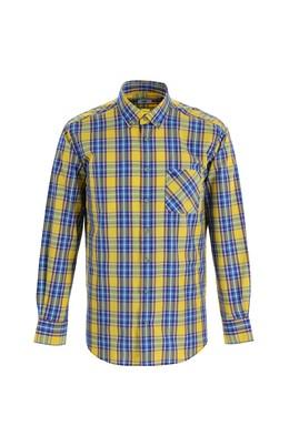 Erkek Giyim - KOYU SARI XL Beden Uzun Kol Regular Fit Ekose Gömlek