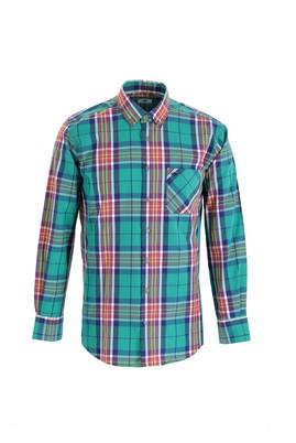 Erkek Giyim - FISTIK YEŞİLİ XXL Beden Uzun Kol Regular Fit Ekose Gömlek