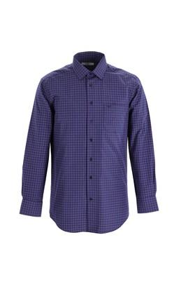 Erkek Giyim - KOYU KIRMIZI L Beden Uzun Kol Regular Fit Ekose Gömlek