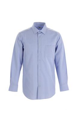 Erkek Giyim - AÇIK MAVİ L Beden Uzun Kol Regular Fit Ekose Gömlek