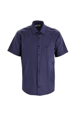Erkek Giyim - KOYU LACİVERT 3X Beden Kısa Kol Regular Fit Desenli Gömlek
