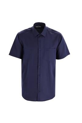 Erkek Giyim - KOYU LACİVERT L Beden Kısa Kol Regular Fit Desenli Gömlek