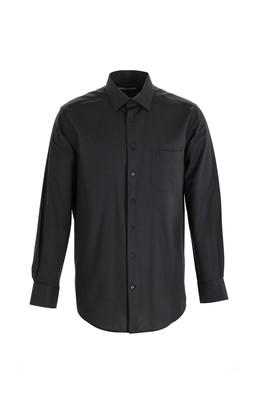 Erkek Giyim - SİYAH XL Beden Uzun Kol Desenli Klasik Gömlek