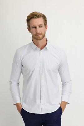 Erkek Giyim - UÇUK MAVİ S Beden Uzun Kol Slim Fit Çizgili Gömlek