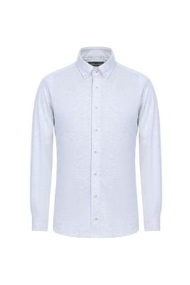 Erkek Giyim - AÇIK GRİ S Beden Uzun Kol Slim Fit Örme Gömlek