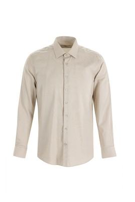 Erkek Giyim - AÇIK KAHVE M Beden Uzun Kol Desenli Slim Fit Gömlek