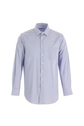 Erkek Giyim - KOYU LACİVERT 4X Beden Uzun Kol Regular Fit Ekose Gömlek