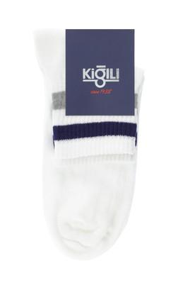 Erkek Giyim - BEYAZ 42-45 Beden Tekli Desenli Çorap