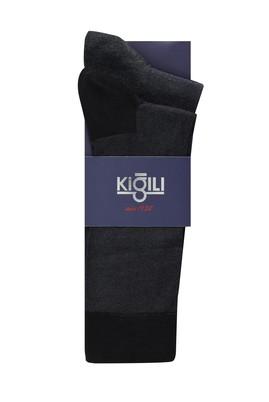 Erkek Giyim - ORTA FÜME 39-41 Beden 2'li Desenli Çorap
