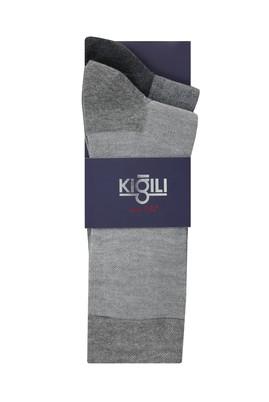 Erkek Giyim - ORTA GRİ 39-41 Beden 2'li Desenli Çorap