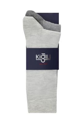 Erkek Giyim - AÇIK GRİ 39-41 Beden 2'li Desenli Çorap