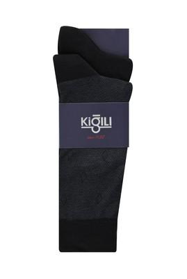 Erkek Giyim - KOYU ANTRASİT 42-45 Beden 2'li Desenli Çorap