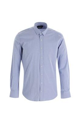 Erkek Giyim - KOYU LACİVERT S Beden Uzun Kol Slim Fit Çizgili Gömlek