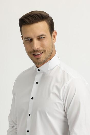 Erkek Giyim - Uzun Kol Ata Yaka Slim Fit Gömlek