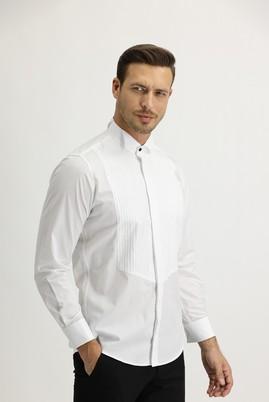 Erkek Giyim - BEYAZ L Beden Uzun Kol Ata Yaka Slim Fit Gömlek