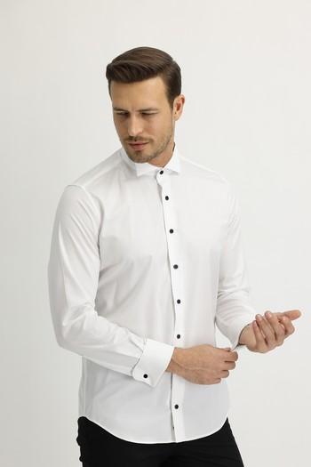 Erkek Giyim - Uzun Kol Ata Yaka Slim Fit Easy Care Gömlek