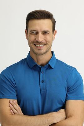 Erkek Giyim - ORTA PETROL M Beden Polo Yaka Regular Fit Tişört