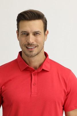 Erkek Giyim - MERCAN KIRMIZI L Beden Polo Yaka Regular Fit Tişört