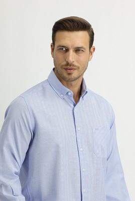 Erkek Giyim - AÇIK MAVİ XL Beden Uzun Kol Regular Fit Ekose Gömlek