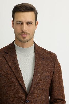 Erkek Giyim - KİREMİT 50 Beden Yünlü Desenli Ceket
