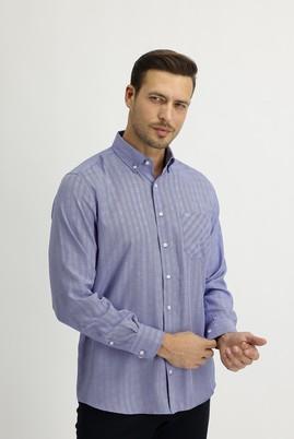 Erkek Giyim - MAVİ XL Beden Uzun Kol Regular Fit Ekose Gömlek