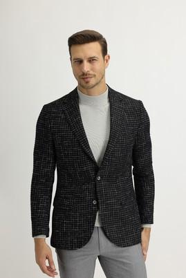 Erkek Giyim - KOYU LACİVERT 50 Beden Regular Fit Ekose Ceket