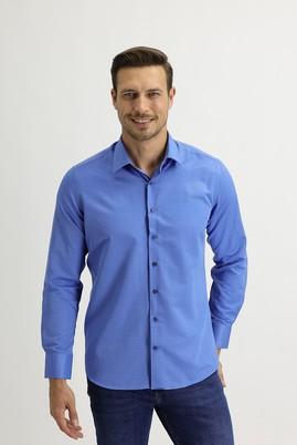 Erkek Giyim - KOYU MAVİ S Beden Uzun Kol Slim Fit Desenli Gömlek