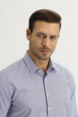 Erkek Giyim - KOYU MAVİ XL Beden Uzun Kol Slim Fit Desenli Gömlek