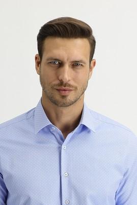 Erkek Giyim - KOYU MAVİ L Beden Uzun Kol Slim Fit Desenli Gömlek