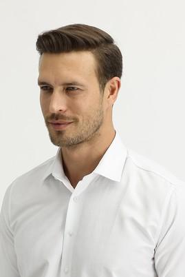Erkek Giyim - BEYAZ S Beden Uzun Kol Slim Fit Desenli Gömlek