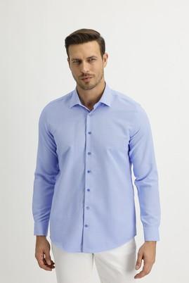 Erkek Giyim - KOYU MAVİ XS Beden Uzun Kol Slim Fit Desenli Gömlek