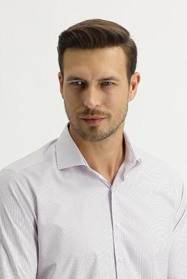 Erkek Giyim - LİLA L Beden Uzun Kol Slim Fit Çizgili Gömlek