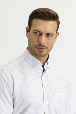 Erkek Giyim - UÇUK MAVİ L Beden Uzun Kol Regular Fit Kareli Gömlek