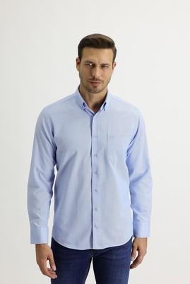 Erkek Giyim - AÇIK MAVİ L Beden Uzun Kol Regular Fit Oxford Gömlek