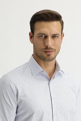 Erkek Giyim - AÇIK MAVİ M Beden Uzun Kol Slim Fit Desenli Gömlek
