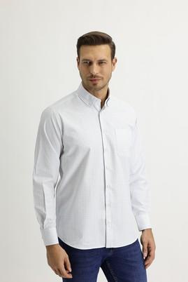 Erkek Giyim - AÇIK MAVİ XL Beden Uzun Kol Regular Fit Kareli Gömlek