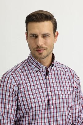 Erkek Giyim - BAYRAK KIRMIZI L Beden Uzun Kol Regular Fit Ekose Gömlek
