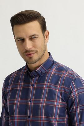 Erkek Giyim - KOYU LACİVERT L Beden Uzun Kol Slim Fit Ekose Gömlek