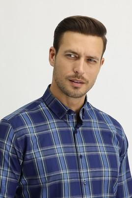 Erkek Giyim - KOYU LACİVERT LOT1 L Beden Uzun Kol Ekose Slim Fit Gömlek