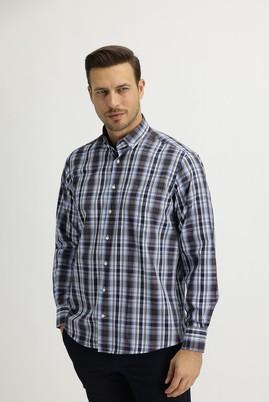 Erkek Giyim - ORTA KAHVE 3X Beden Uzun Kol Regular Fit Ekose Gömlek